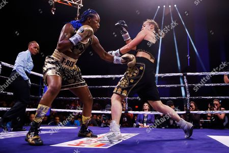 Claressa Shields, Ivana Habazin. Claressa Shields, left, fights with Ivana Habazin during the second round of a women's 154-pound title fight in Atlantic City, N.J