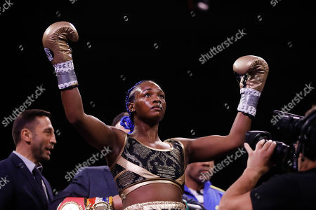 Stock Picture of Claressa Shields stands for her introduction for a fight with Ivana Habazin in a women's 154-pound title boxing bout in Atlantic City, N.J
