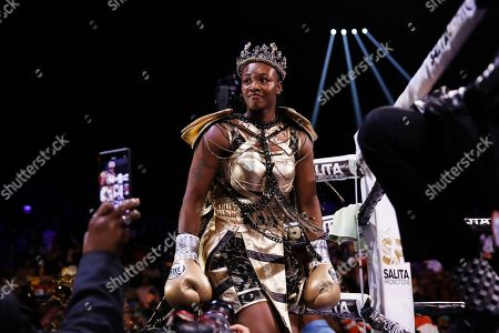 Claressa Shields arrives for her boxing bout against Ivana Habazin for the women's 154-pound title in Atlantic City, N.J