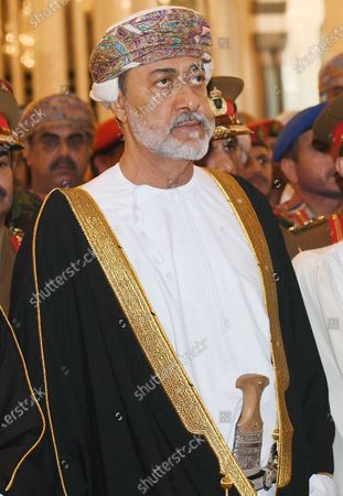 Oman's new Sultan, Haitham bin Tariq Al Said during the funeral of the Sultan of Oman, Qaboos bin Said Al Said, in Muscat, Oman, 11 January 2020. According to media reports, Qaboos, who had been serving as Sultan of Oman since 1970, died earlier in the day.