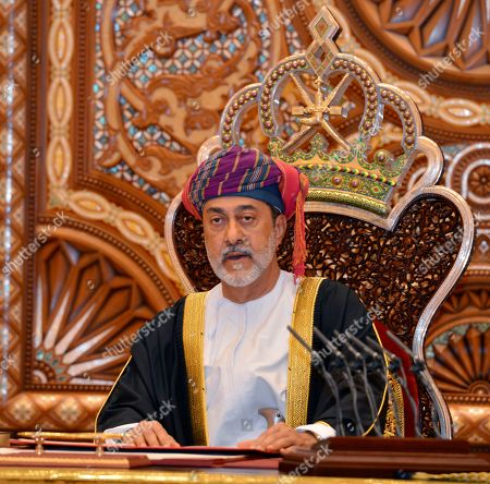 In this photo made available by Oman News Agency, Oman's new sultan Haitham bin Tariq Al Said, makes his first speech after swearing in at the Royal Family Council in Muscat, Oman, . Sultan Qaboos bin Said, the Mideast's longest-ruling monarch who seized power in a 1970 palace coup and pulled his Arabian sultanate into modernity while carefully balancing diplomatic ties between adversaries Iran and the U.S., has died. He was 79