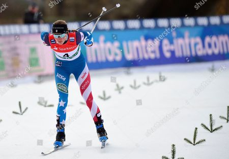 USA's Sophie Caldwell competes in the women's sprint quarter finals at the FIS Cross Country Skiing World Cup in Dresden, eastern Germany