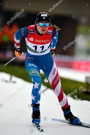 Sophie Caldwell, from the US, participates in the women's sprint free qualification at the cross country ski World Cup in Dresden, eastern Germany