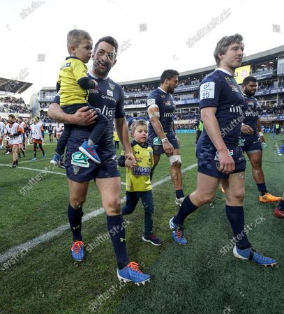 ASM Clermont Auvergne vs Ulster. Clermont's Greig Laidlaw with his sons Ruary and Rocco after the game