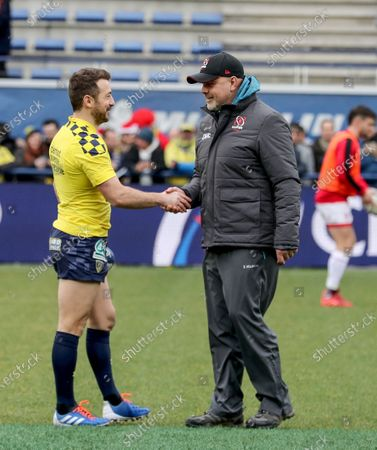 ASM Clermont Auvergne vs Ulster. Clermont's Greig Laidlaw and Ulster Head coach Dan McFarland ahead of the game