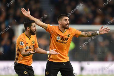 Ruben Neves of Wolverhampton Wanderers and Joao Moutinho of Wolverhampton Wanderers.