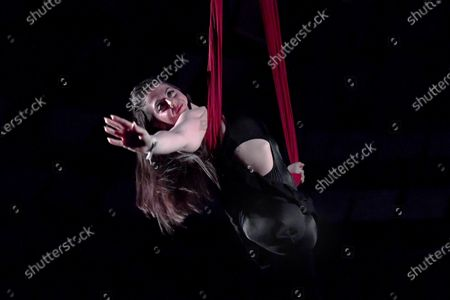 Stock Photo of Acrobat born without limbs Jen Bricker of the US performs during the Lyrical Night Show of the 13th Budapest International Circus Festival at the Capital's Circus in Budapest, Hungary, late 10 January 2020 (issued 11 January 2020).