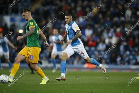 Bradley Johnson of Blackburn Rovers   during the EFL Sky Bet Championship match between Blackburn Rovers and Preston North End at Ewood Park, Blackburn