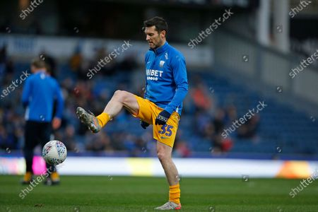 David Nugent of Preston North End warming up during the EFL Sky Bet Championship match between Blackburn Rovers and Preston North End at Ewood Park, Blackburn