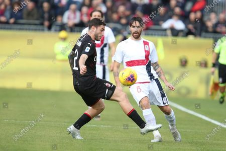 Stock Picture of Cagliari's Luca Cigarini (R) and Milan's Davide Calabria (L) in action during the Italian Serie A soccer match between Cagliari Calcio and AC Milan at Sardegna Arena stadium in Cagliari, Italy,11 January 2020.