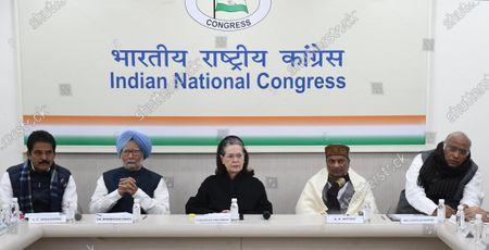 United Progressive Alliance (UPA) chairperson Sonia Gandhi (C), former Indian Prime Minister Manmohan Singh (Centre L) and senior party leader A.K. Antony(Centre R) along with other Congress Party senior leaders attend a Congress Working Committee (CWC) meeting at the party's headquarters in New Delhi, India, 11 January 2020. According to news reports, CWC meeting was held to discuss the issues related to Citizen Amendment Act(CAA), National Register of Citizens(NRC) and state of Indian economy.