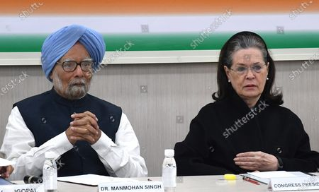 United Progressive Alliance (UPA) chairperson Sonia Gandhi (R) and former Indian Prime Minister Manmohan Singh(L) attend a Congress Working Committee (CWC) meeting at the party's headquarters in New Delhi, India, 11 January 2020. According to news reports, CWC meeting was held to discuss the issues related to Citizen Amendment Act(CAA), National Register of Citizens(NRC) and state of Indian economy.