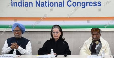United Progressive Alliance (UPA) chairperson Sonia Gandhi (C), former Indian Prime Minister Manmohan Singh (L) and senior party leader A.K. Antony(R) attend a Congress Working Committee (CWC) meeting at the party's headquarters in New Delhi, India, 11 January 2020. According to news reports, CWC meeting was held to discuss the issues related to Citizen Amendment Act(CAA), National Register of Citizens(NRC) and state of Indian economy.