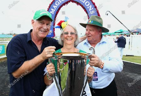 Owner Allen Endresz, with Robyn and Jeff Simpson celebrate after Alligator Blood won race 6, the Magic Millions 3YO Guineas, during Magic Millions Race Day at Aquis Park on the Gold Coast, Queensland, Australia, 11 January 2020.