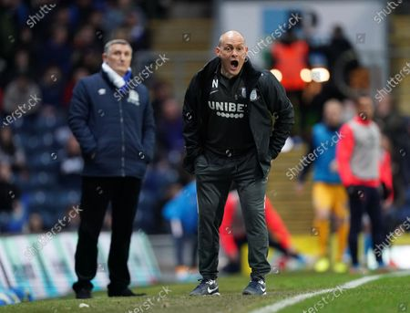 Preston North End Manager Alex Neil with Blackburn Rovers Manager Tony Mowbray in background