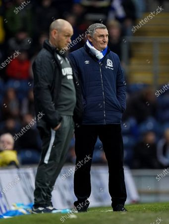 Blackburn Rovers Manager Tony Mowbray, with Preston North End Manager Alex Neil, left.
