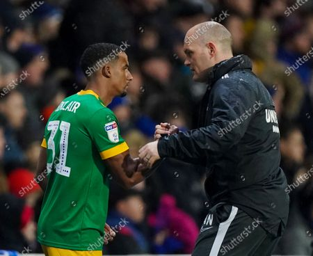Scott Sinclair of Preston North End with Preston North End Manager Alex Neil before making his debut as a substitute after signing from Celtic