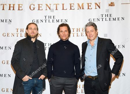 "Charlie Hunnam, Matthew McConaughey, Hugh Grant. Actors Charlie Hunnam, left, Matthew McConaughey and Hugh Grant pose together during photo call for the film ""The Gentlemen"" at The Whitby Hotel, in New York"