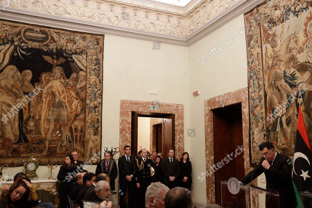 Libya's Prime Minister Fayez al-Sarraj holds a press conference after his meeting with Italian Premier Giuseppe Conte at Chigi palace, in Rome