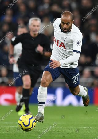 Tottenham Hotspur's Lucas Moura in action during the English Premier League soccer match between Liverpool and Tottenham Hotspur held at Tottenham Hotspur Stadium in north London, Britain, 11 January 2020.