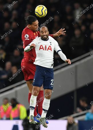 Tottenham Hotspur's Lucas Moura (R) in action with Liverpool's Virgil van Dijk (L) during the English Premier League soccer match between Liverpool and Tottenham Hotspur held at Tottenham Hotspur Stadium in north London, Britain, 11 January 2020.
