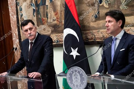 Italian Prime Minister Giuseppe Conte (R) and Lybia's  prime minister of the Government of National Accord (GNA) of Libya, Fayez al-Sarraj (L) during a press conference at the end of a meeting in Rome, Italy, 11 January 2020. The two met as part of Europe and North Africa's diplomatic efforts to prevent conflict extension in Libya and Turkey's deployment of troops to the country.