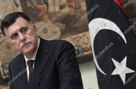 Lybia's prime minister of the Government of National Accord (GNA) of Libya, Fayez al-Sarraj during a press conference with Italian Prime Minister Conte at the end of a meeting in Rome, Italy, 11 January 2020. The two met as part of Europe and North Africa's diplomatic efforts to prevent conflict extension in Libya and Turkey's deployment of troops to the country.