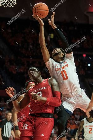 Illinois' Alan Griffin (0) goes hard to the basket as Rutgers' Shaq Carter (13) defends in the first half of an NCAA college basketball game, in Champaign, Ill