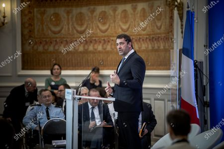 French Minister of the Interior, Christophe Castaner opens the citizens' conference on security.