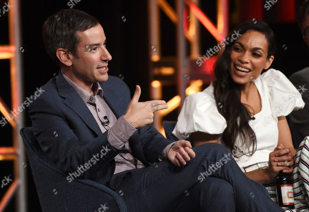 """Andy Greenwald, Rosario Dawson. Andy Greenwald, left, the executive producer/showrunner of the USA Network series """"Briarpatch,"""" discusses the show alongside cast member Rosario Dawson at the 2020 NBCUniversal Television Critics Association Winter Press Tour, in Pasadena, Calif"""