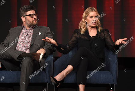 """Kim Dickens, Jay Ferguson. Kim Dickens, right, and Jay Ferguson, cast members in the USA Network series """"Briarpatch,"""" discuss the show at the 2020 NBCUniversal Television Critics Association Winter Press Tour, Saturday, Jan.11, 2020, in Pasadena, Calif"""