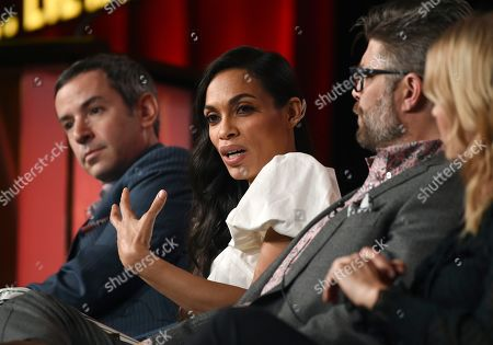"""Rosario Dawson, Jay Ferguson, Andy Greenwald, Kim Dickens. Rosario Dawson, second from left, a cast member in the USA Network series """"Briarpatch,"""" discusses the show as, from left, executive producer/showrunner Andy Greenwald and cast members Jay Ferguson and Kim Dickens look on at the 2020 NBCUniversal Television Critics Association Winter Press Tour, in Pasadena, Calif"""