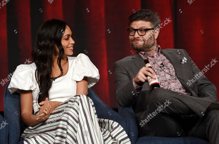 """Rosario Dawson, Jay Ferguson. Rosario Dawson, left, and Jay Ferguson, cast members in the USA Network series """"Briarpatch,"""" interact as they take part in a panel discussion at the 2020 NBCUniversal Television Critics Association Winter Press Tour, in Pasadena, Calif"""