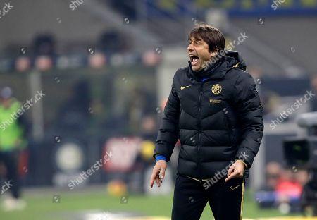 Inter Milan's head coach Antonio Conte reacts during the Serie A soccer match between Inter Milan and Atalanta at the San Siro stadium in Milan, Italy