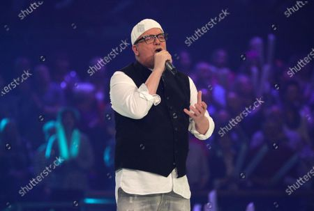 Stock Picture of DJ Oetzi on stage during the TV show 'Schlagerchampions 2020 - Das grosse Fest der Besten' (lit. The Big Festival of the Best) in Berlin, Germany, 11 January 2020.