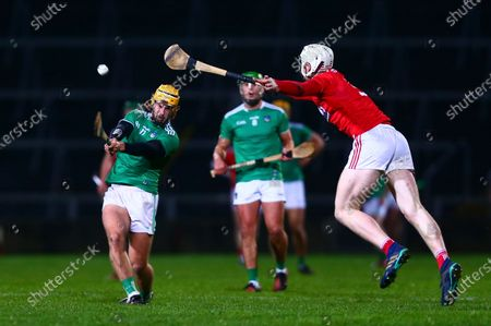 Cork vs Limerick. Limerick's Tom Morrissey shoots under pressure from Cork's Chris O'Leary