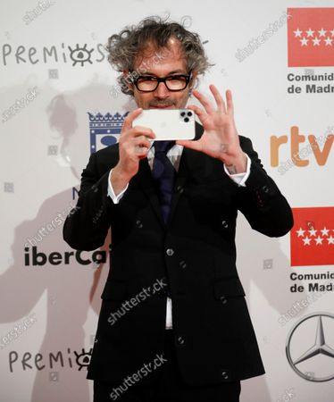 British pianist James Rhodes takes a picture of the media as he attends the gala of the 25th Forque Awards held at IFEMA Convention and Exhibition Center in Madrid, Spain, 11 January 2020.