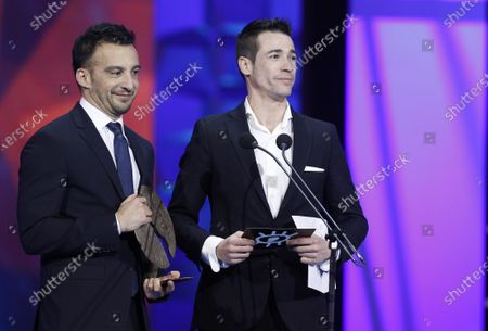 Alejandro Amenabar (L) and Spanish actor Juan Jose Ballesta (R) gives the Forque Award for Best Film to 'La trinchera infinita (lit.: The Infinite Trench)' during the gala of the 25th Forque Awards held at IFEMA Convention and Exhibition Center in Madrid, Spain, 11 January 2020.