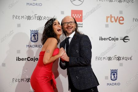 Santiago Segura (R) and spanish journalist Elena Sanchez pose for the media as they attend the gala of the 25th Forque Awards held at IFEMA Convention and Exhibition Center in Madrid, Spain, 11 January 2020.