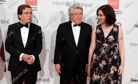 Madrid's Mayor Jose Luis Martinez-Almeida, Spanish producer and President of Atletico Madrid, Enrique Cerezo, and Madrid's regional president Isabel Diaz Ayuso pose for the media as they attend the gala of the 25th Forque Awards held at IFEMA Convention and Exhibition Center in Madrid, Spain, 11 January 2020.