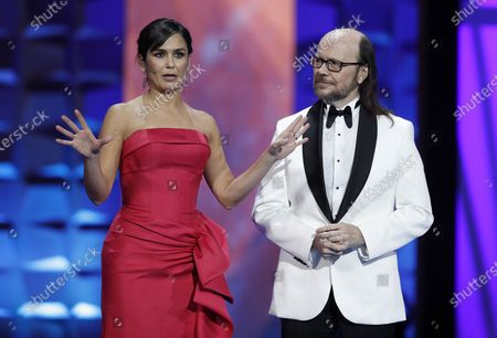 Santiago Segura (R) and Spanish journalist Elena Sanchez (L) host the gala of the 25th Forque Awards held at IFEMA Convention and Exhibition Center in Madrid, Spain, 11 January 2020.