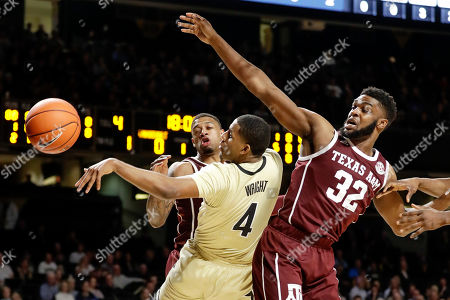 Jordan Wright, Josh Nebo. Vanderbilt guard Jordan Wright (4) passes the ball away from Texas A&M forward Josh Nebo (32) in the first half of an NCAA college basketball game, in Nashville, Tenn