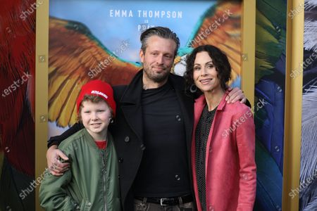 Minnie Driver (R) fiancé Addison Odea (C) and son Henry Driver pose on the red carpet prior to the premiere of 'Dolittle' at the Regency Village Theater in Los Angeles, California, USA, 11 January 2020.