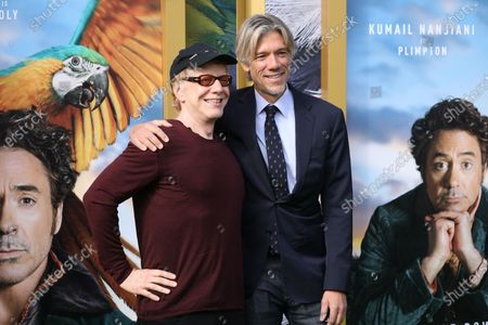 Stock Picture of Danny Elfman (L) and Director Stephen Gaghan pose on the red carpet prior to the premiere of 'Dolittle' at the Regency Village Theater in Los Angeles, California, USA, 11 January 2020.