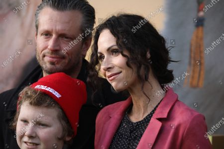 Minnie Driver (R) fiancé Addison Odea and son Henry Story Driver pose on the red carpet prior to the premiere of 'Dolittle' at the Regency Village Theater in Los Angeles, California, USA, 11 January 2020.