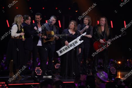 Florian Silbereisen (L) with The Kelly Family on stage during the TV show 'Schlagerchampions 2020 - Das grosse Fest der Besten' (lit. The Big Festival of the Best) in Berlin, Germany, 11 January 2020.