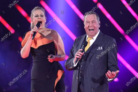 Roland Kaiser (R) and Barbara Schoeneberger (L) on stage during the TV show 'Schlagerchampions 2020 - Das grosse Fest der Besten' (lit. The Big Festival of the Best) in Berlin, Germany, 11 January 2020.