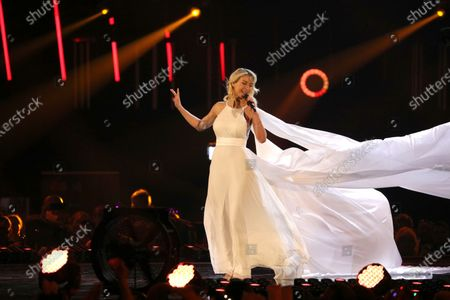 Stock Image of Anna-Carina Woitschack on stage during the TV show 'Schlagerchampions 2020 - Das grosse Fest der Besten' (lit. The Big Festival of the Best) in Berlin, Germany, 11 January 2020.