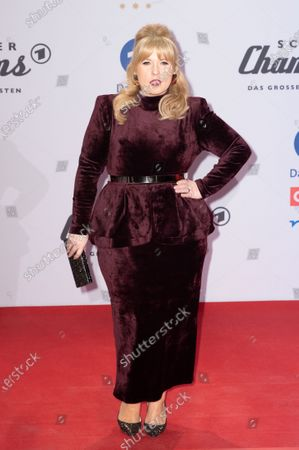 Maite Kelly poses on the red carpet before the TV show 'Schlagerchampions 2020 - Das grosse Fest der Besten' (lit. The Big Festival of the Best) in Berlin, Germany, 11 January 2020.