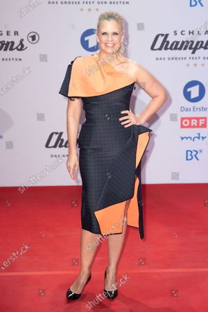 Barbara Schoeneberger poses on the red carpet before the TV show 'Schlagerchampions 2020 - Das grosse Fest der Besten' (lit. The Big Festival of the Best) in Berlin, Germany, 11 January 2020.